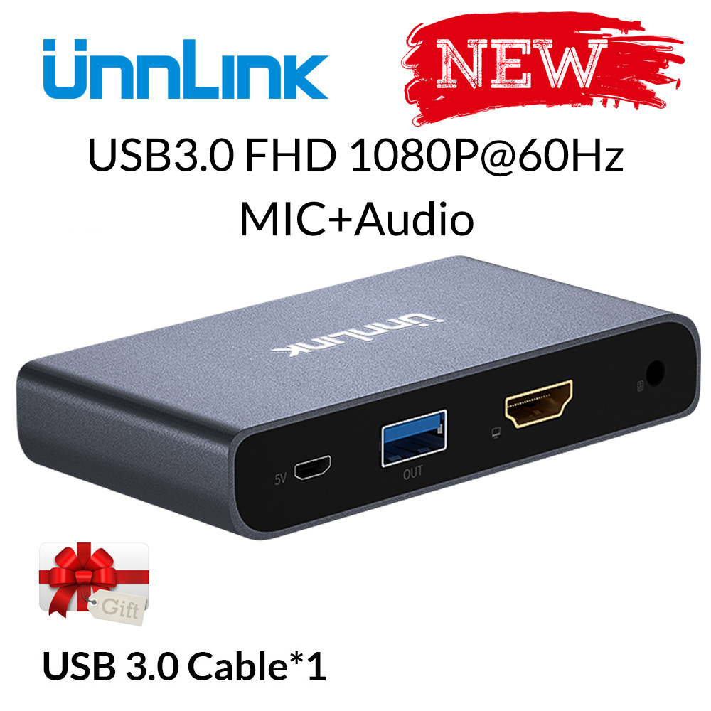 Unnlink usb3.0 jogo placa de captura vídeo captura fhd1080p @ 60 hz gravação streaming ao vivo para ps3 ps4 xbox um 360 nintend switch