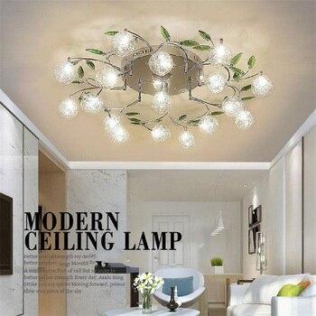 AC110V 220V modern Art design LED chandelier lustre aluminum wire lamp chandeliers crystal green leaf decor ceiling mount lights