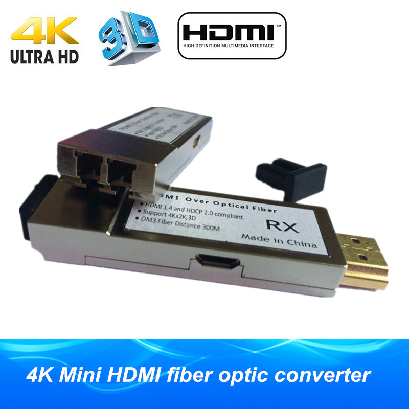 Micro USB Mini HDMI optic fiber extender 300m 984ft HDMI1 4 4K 2K 3D fiber optical