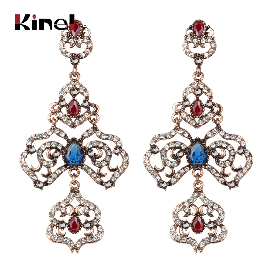 Kinel Luxury Big Drop Earrings For Women Fashion Antique Gold Turkish Ethnic Style Hollow Crystal Flower Earrings Bridal Gifts Finely Processed Furniture