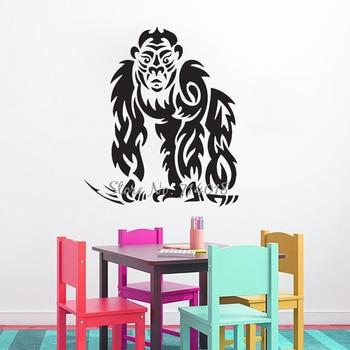 Etiqueta de pared de gorila Tribal, pegatina de pared del rey de la selva, vinilo para decoración del hogar, papel tapiz de dormitorio para niños, murales de Arte de zoológico A999