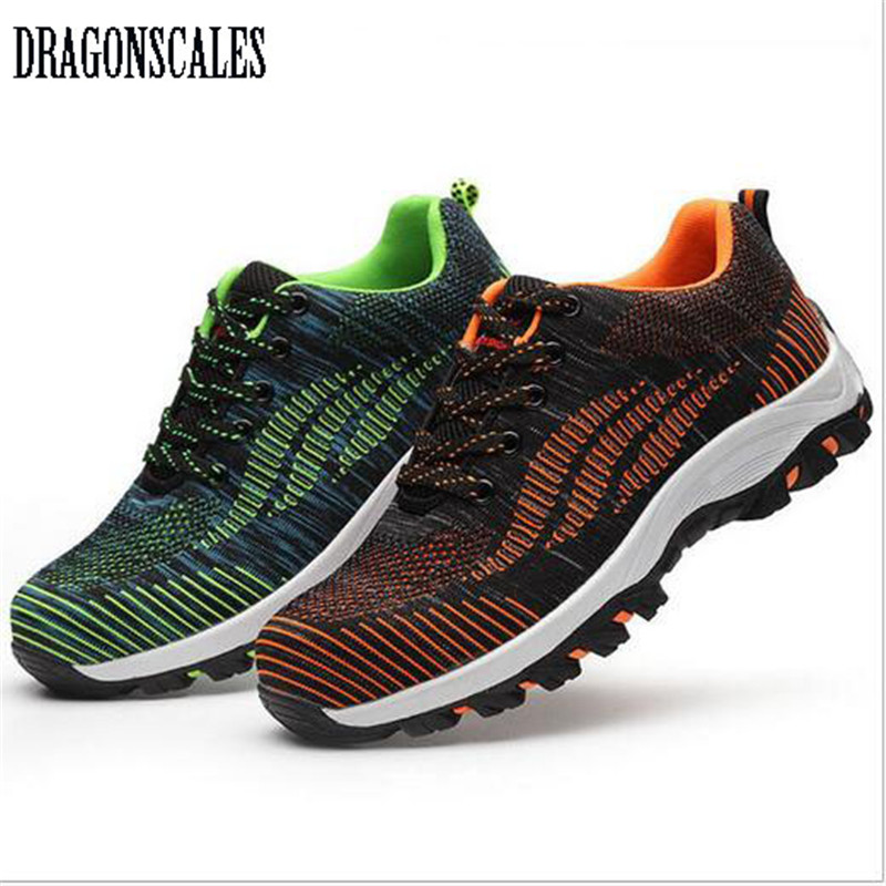 dragonscales Mesh Men Boots Work Safety Shoes Steel Toe Cap For Anti-Smashing Puncture Proof Durable Breathable Protective Footw