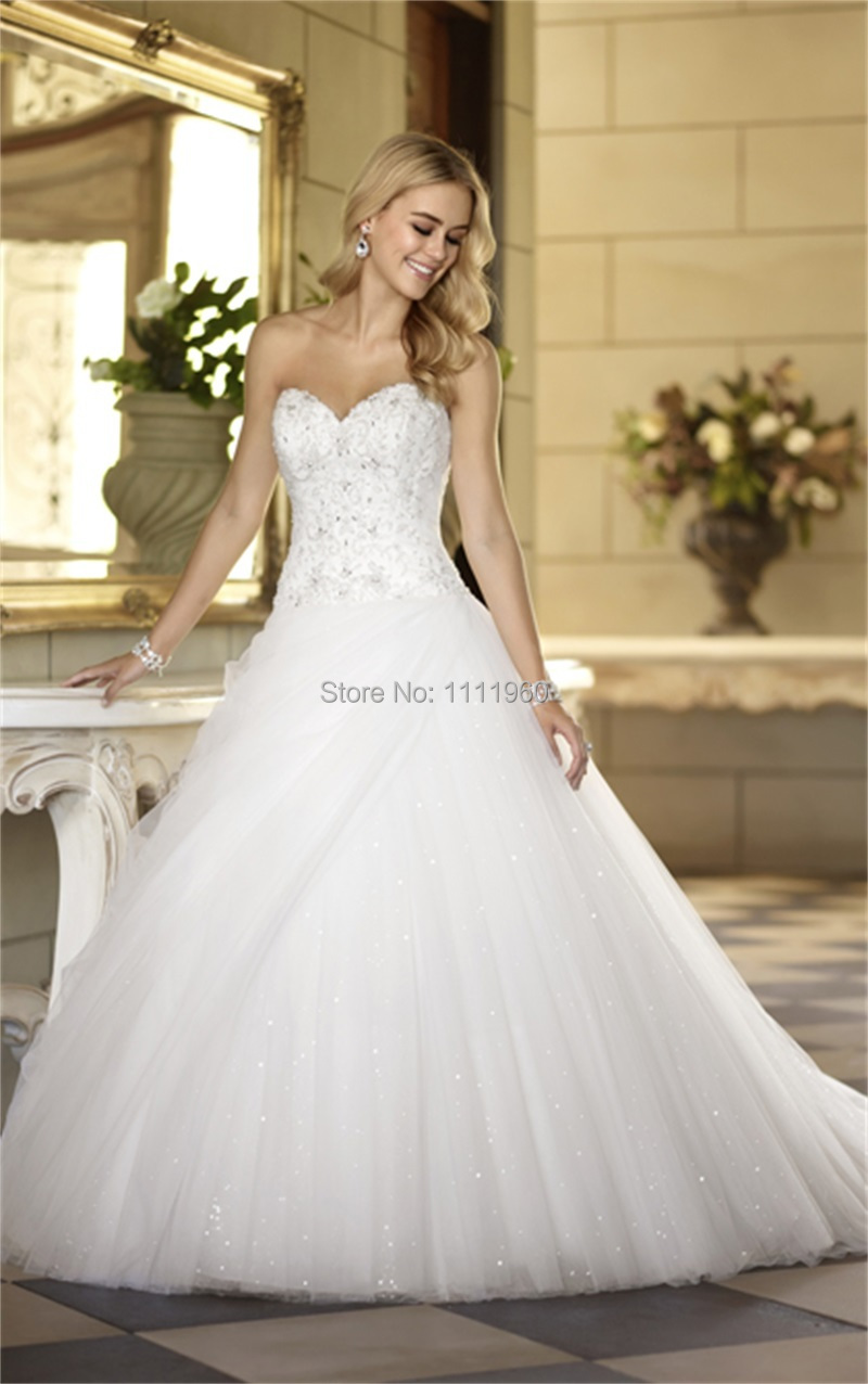 Free Shipping Sequined Beaded Bling Wedding Dress 2015 Top Lace Ball ...