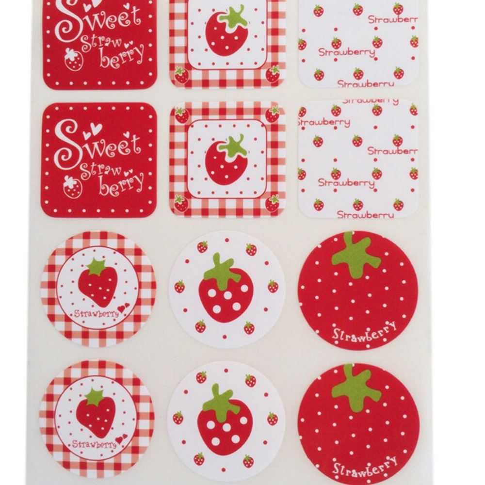 Scrapbook paper and stickers - 2 Sheets 24pcs Diy Strawberry Pattern Scrapbook Paper Sticker Label Adhesive Stickers Decoration Gifts For