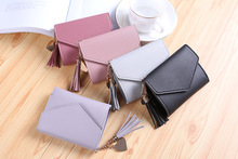 Short Wallet Women Purses Tassel Fashion Coin Purse Card Holder Wallets Female High Quality Clutch Money Bag PU Leather Wallet new fashion women wallet crocodile pattern high quality purse for female coin purses money card holders ladies buckle purses y3