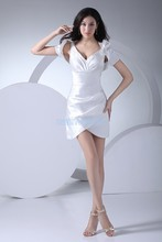 free shipping 2015 prom gown new design hot seller formal white sweetheart cap sleeve short custom size bridesmaid dress
