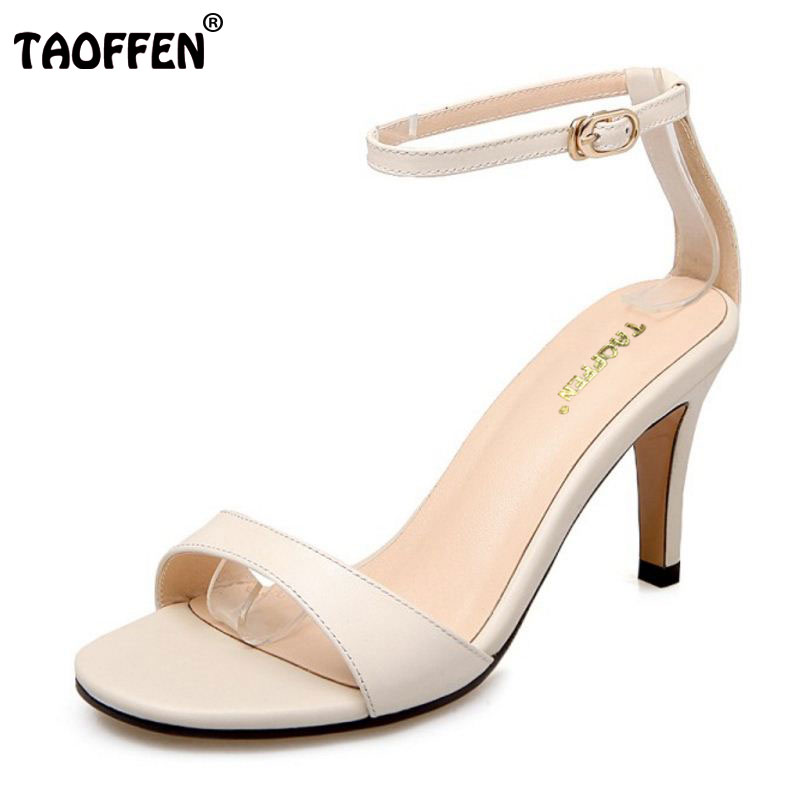 TAOFFEN Genuine Leather High Heel Sandals Women Ankel Strap Shoes Women Sandals Vacation Party Club Sexy Footwears Size 33-39