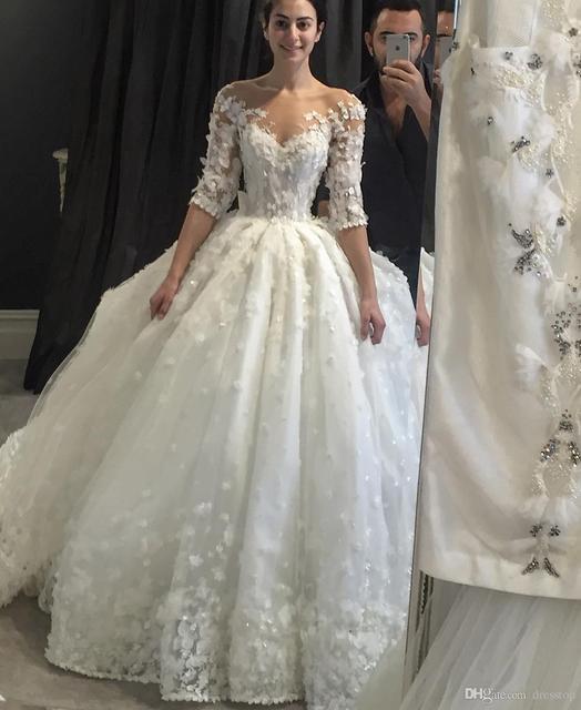 Vintage 3d Appliqued Suknia Balowa Koronki Z Długim Rękawem Suknie