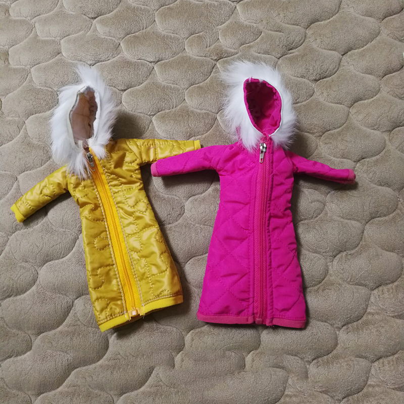 Pretty Long Coat Cotton Dress For Barbie Clothes Toy Winter Wear Wedding Dress Skirt 1/6 BJD Doll Jacket Accessories