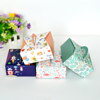 14*14*6.5cm Cupcake Boxes With Handle Cookie Packaging Box 100pcs/lot Free shipping
