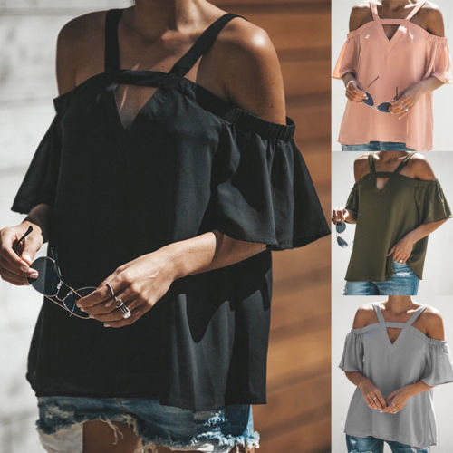 Sexy Women Off Shoulder Chiffon   Blouse     Shirts   Short Sleeve Black Gray Pink Loose Pullover Tops   Blouses   Summer Casual Hollow Out