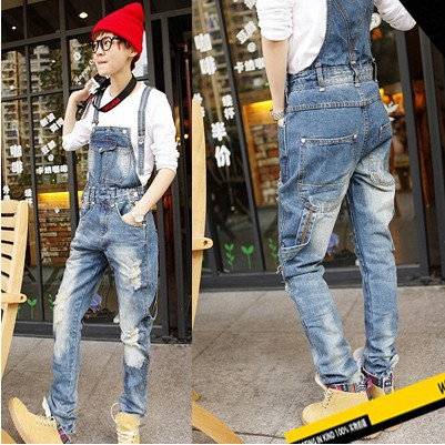 top-rated fashion real quality professional design denim overalls for men fashion cool hole decoration skinny ...