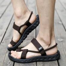 Men sandals 2018 Summer Black Beach Sandals high quality summer flat shoes Gladiator sandalias para hombre Big Size 45