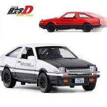 1:32 Cartoon Initial D AE86 Alloy Metal Diecast Cars Model Vehicles RX7 Pull Back Light Toys For Children Hot Supercar Wheel