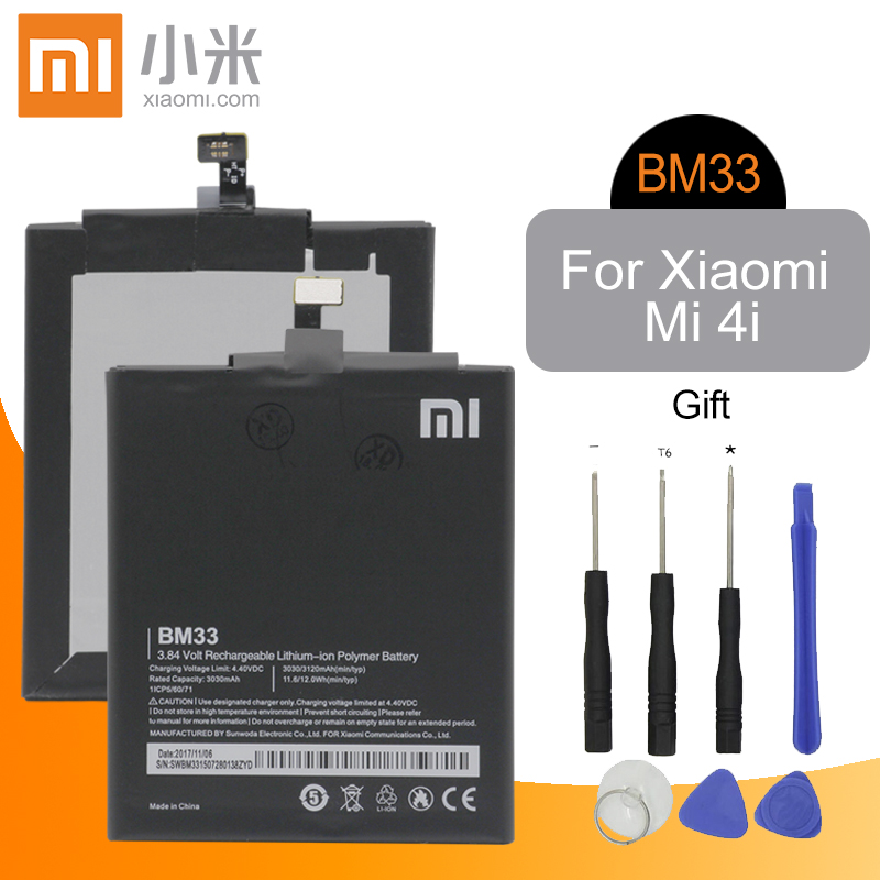 Xiaomi Phone <font><b>Battery</b></font> BM33 3120mAh High Capacity High Quality for Xiaomi <font><b>Mi</b></font> <font><b>4i</b></font> Mi4i Original Replacement <font><b>Battery</b></font> Retail Package image
