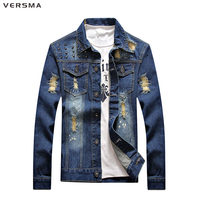 VERSMA Fashion Jean Womens Mens Denim Shirt Men Chemise Slim Fit Casual Shirt Long Male Ripped