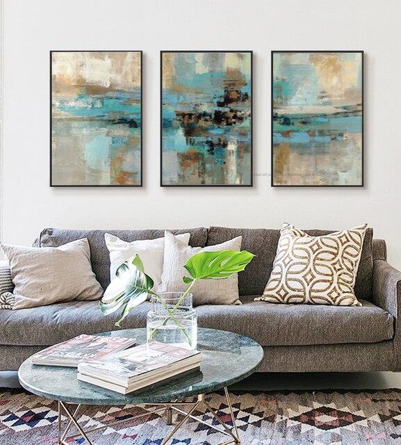 Fabulous 3 stuk olieverfschilderijen op canvas turquoise schilderijen  OM05