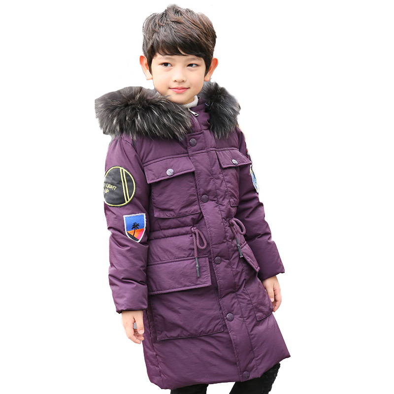 High Quality -30 Degree Boy's clothing Children winter Down jacket for boys parka real Natural Fur hood Long Coat Kids Clothes