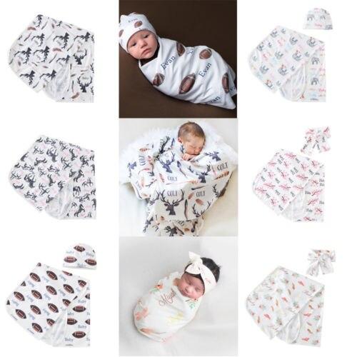 2Pcs Newborn Baby Boy Girl Cotton Swaddle Wrap Blanket Sleeping Bag Sleepsack