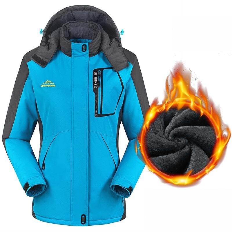 Women Winter Outdoor Thermal Hooded Jacket Soft Shell Waterproof Windproof Fleece Women's  Camping Hiking  Jacket