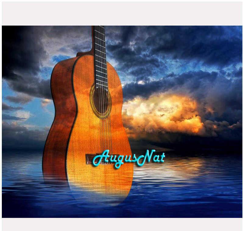 גיטרה יהלומי ציור מלא עגול מוסיקה קיר אמנות 5d diy יהלומי dotz ערכות יהלומי צבע על בד קריסטל רקמת ענן מתנה
