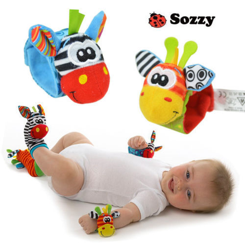 Free Shipping 2015 New A Pair Sozzy Baby Infant Soft Toy Wrist Rattles Finders Developmental