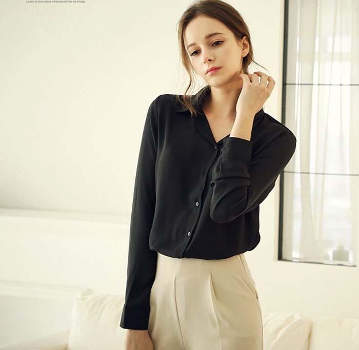 1PC Women Chiffon Blouse Long Sleeve Shirt Women Tops Office Lady Blusas Femininas Camisas Mujer Z231 3