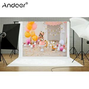 Image 3 - Andoer 2.1 * 1.5m/7 * 5ft First Birthday Backdrop Balloon Cake Photography Background Baby Kids Photo Studio Pros