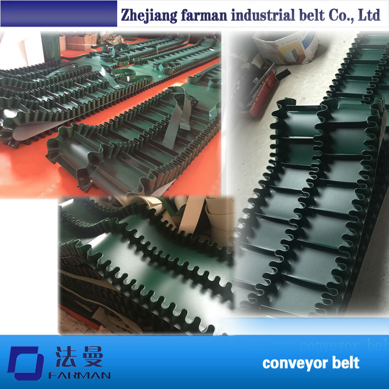 Black and Green PVC PU Sidewall Conveyor Belt