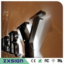 Factory Outlet in acciaio inox retroilluminato a led lettera segni in negozio, retroilluminato metallo signages, illuminato segni commerciali