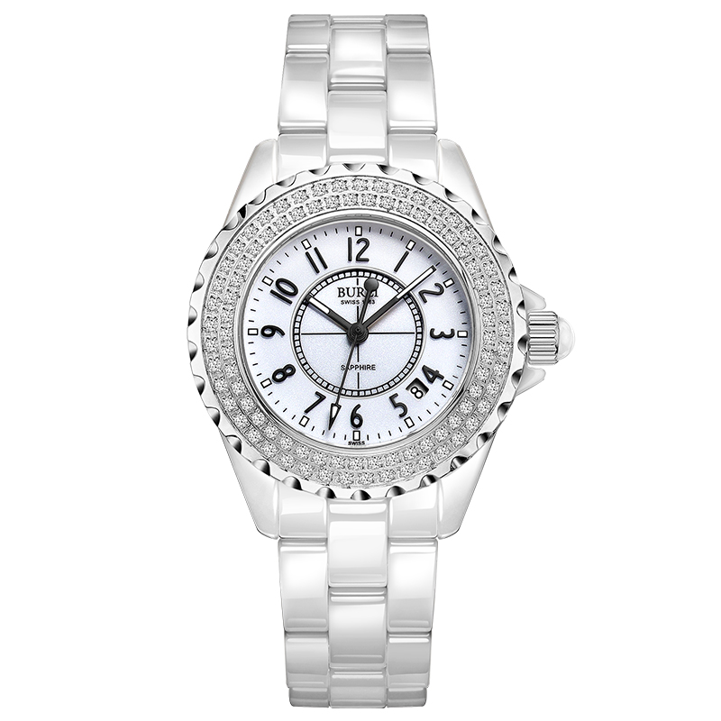 BUREI 18003 Switzerland watch women luxury brand J12 series Austria diamond Ceramic calendar number white relogio feminino цена