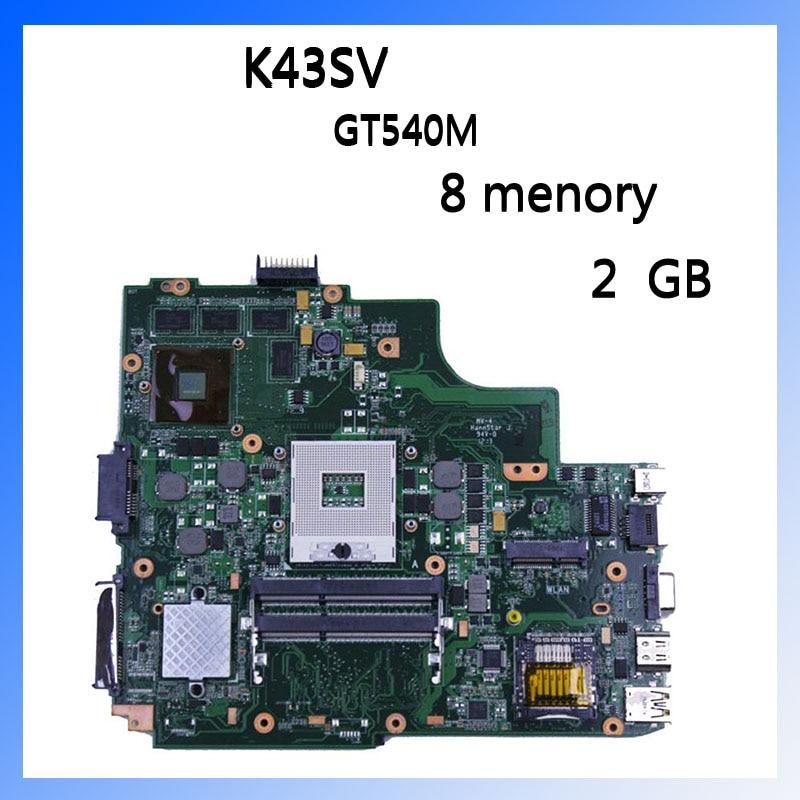 For ASUS laptop mainboard A43S X43S K43SJ A43SV K43SV K43SM series motherboard GT540M RAM 2GB DDR3 for asus k43sv k43sj laptop motherboard 1g video card k43sv l new mainboard gt520m rev2 2