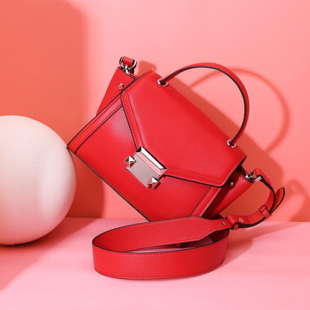 Luxe 2019 décontracté en cuir véritable femmes sacs à bandoulière Messenger sac Designer femme sac à bandoulière sacs à main rouge-in Sacs à bandoulière from Baggages et sacs    1