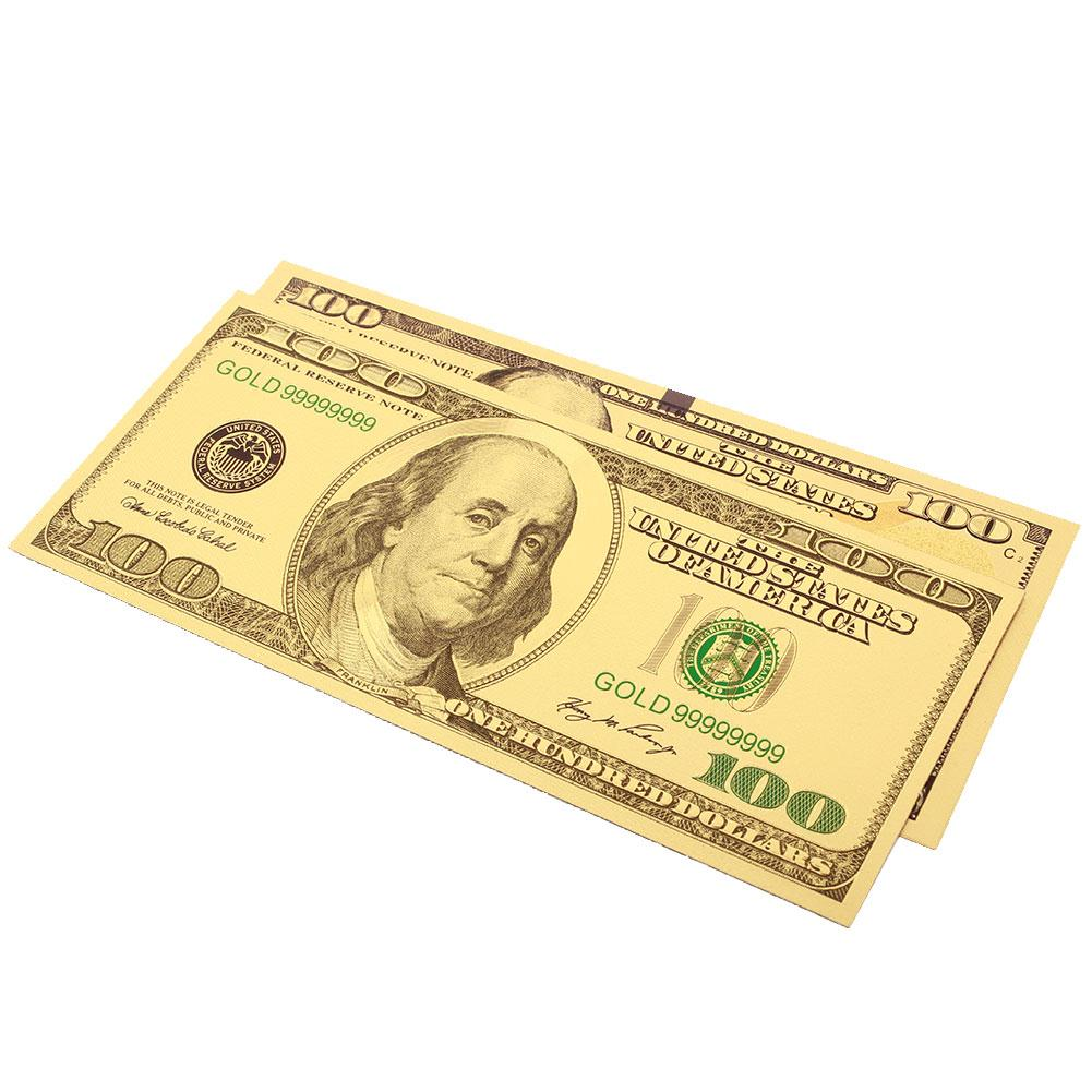 100 Dollar Bills Banknotes Collection Coin Antique Plated Gold Decoration 2PCS/Set Realistic Fake Money