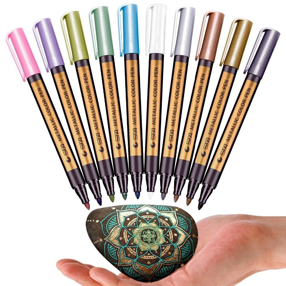 Sta 10 cores marcador metálico canetas para pintura de rocha ponto médio marcadores de cor metálicos para scrapbooking plástico de vidro cerâmico