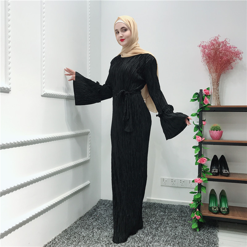 Pleated Chiffon Abaya Muslim Hijab Dress Caftan Marocain Kaftan Abayas For Women Ramadan Tesettur Elbise Robe Islamic Clothing