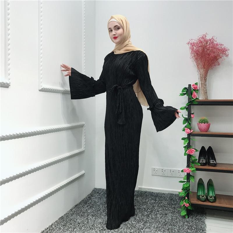 Pleated Chiffon Abaya Muslim Hijab Dress Caftan Marocain Kaftan Abayas For Women Ramadan Tesettur Elbise Robe Islamic Clothing