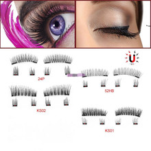 6Pc 3D makeup Magnetic Eyelashes False make up Mink Lashes Full Strip & Tweezers Double Magnet Fake Eye