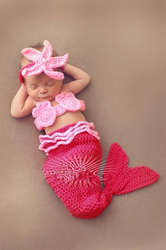 El nuevo Encanto Infantil Bebé Sirena Starfish Traje de cola de ...