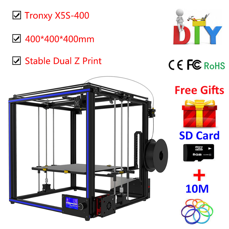 Tronxy X5S 3d printer kit High-precision I3 Metal-Frame Aluminium Profile 3D Printer DIY With Extruder Heatbed 12864 LCD Screen anet a2 12864 large aluminium metal 3d printer with lcd display