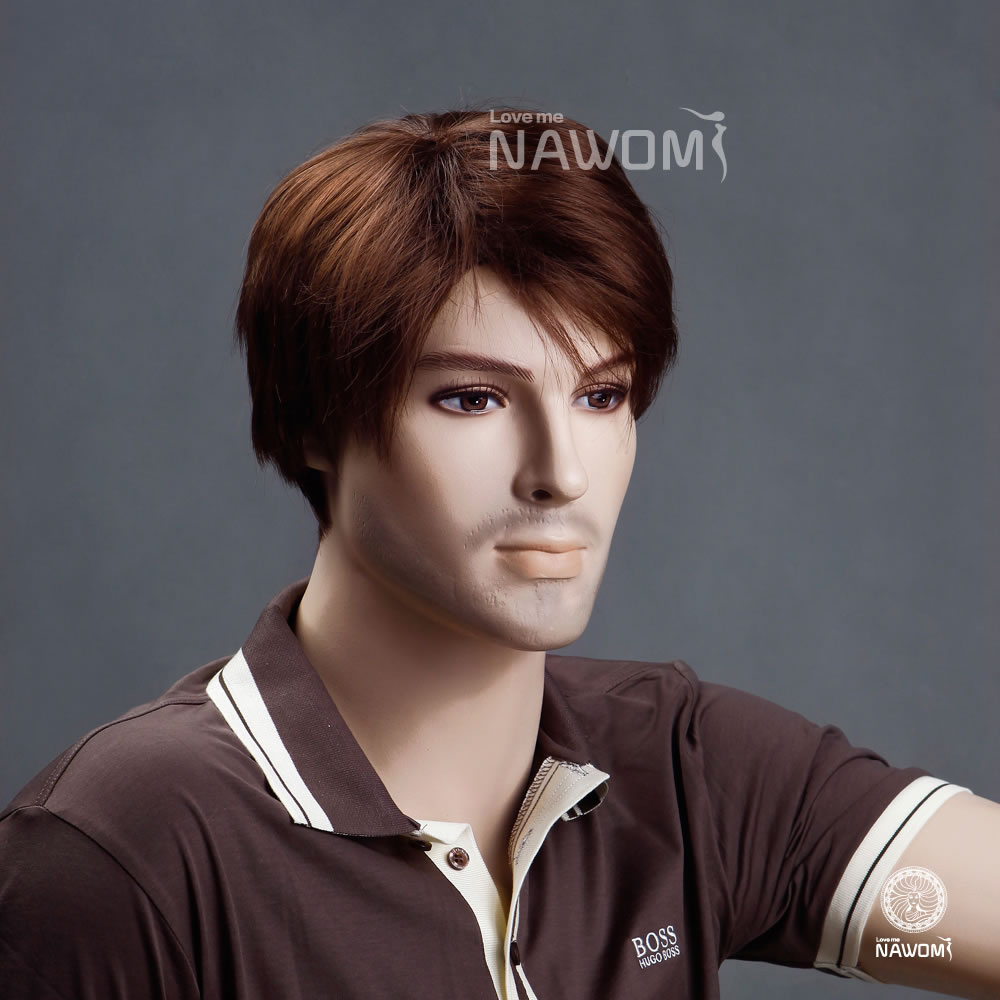 Nawom Brand Hot Saleable Copper Red Handsome Wigs Short For Male