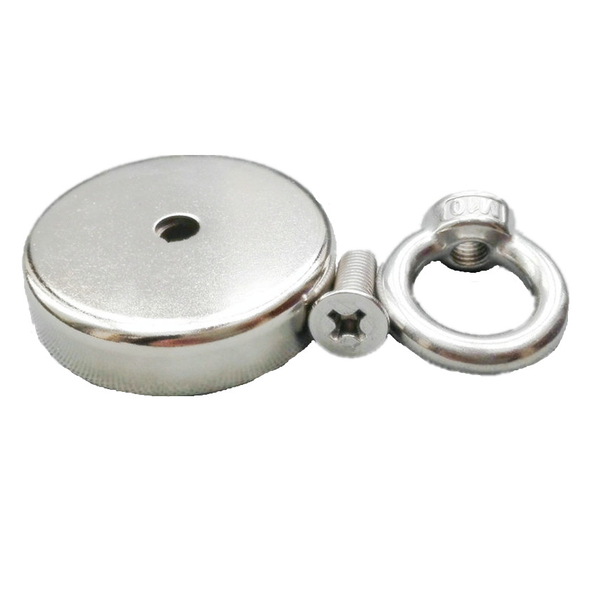 160kg Pulling Pot Magnet Dia. 75 mm M10 Eye Bolt Mounting Magnetic Strong Magnet Neodymium Permanent Magnets 3 Fishing Magnet 1piece 164kg magnetic pull force neodymium recovery fishing detecting magnet pot with a eyebolt antenna magnetic mounting base