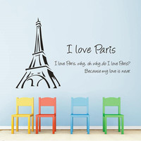 Wall Stickers I Love Paris Eiffel Tower Love Quotes Removable Post Wall Art Vinyl Wall Sticker