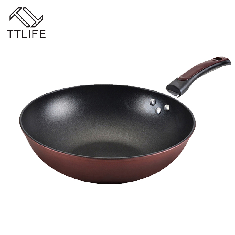 TTLIFE 32cm 34cm Non-stick Layer Pan Deep Wok Frying Pan High Quality Flat Bottom Cookware Use for Gas and Induction Cooker