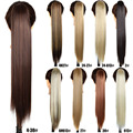 "24""Straight Claw Pony Tail Clip In Fake Tress Synthetic Ponytail Hair Extensions Postiche Queue De Cheva Pelucas Pelo Natural"
