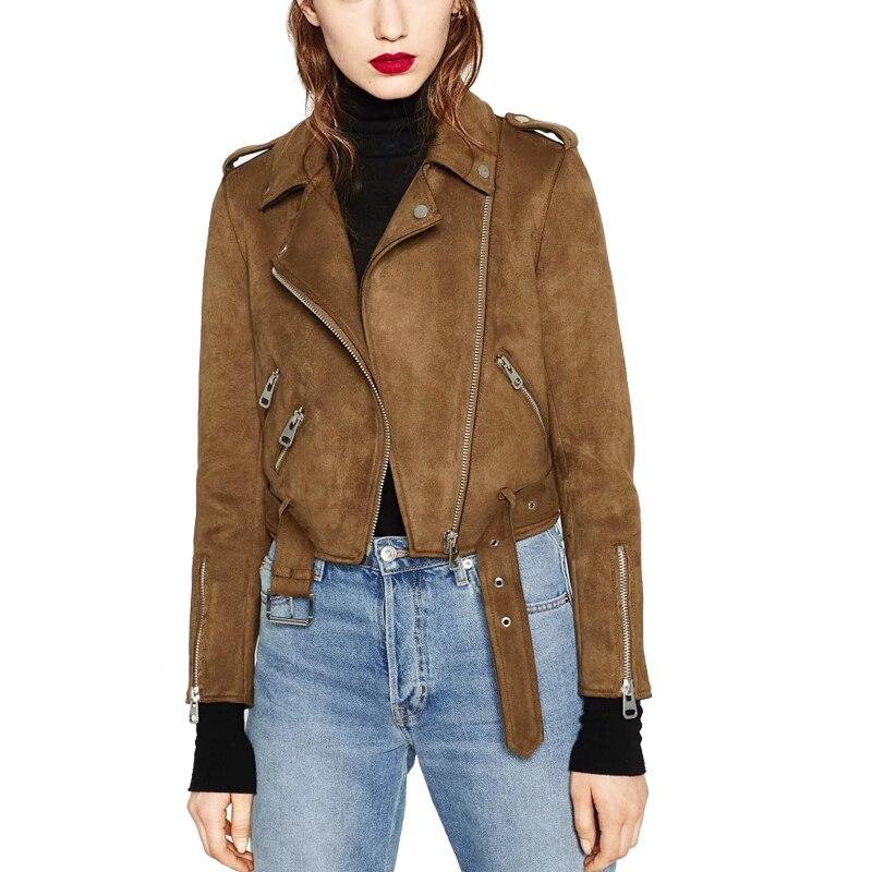 2018 Brown Suede Jacket Women Turn Collar Long Sleeve