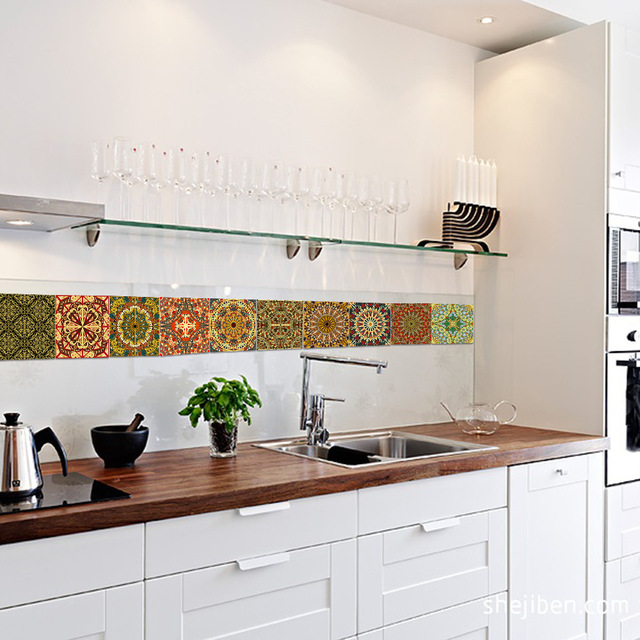 Funlife Islamic Arab Style Tile Sticker Decal,Adhesive Kitchen Backsplash Tiles Wall Stickers,Waterproof Bathroom Decor Stickers