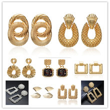 Big Vintage Earrings for women gold color Geometric statement earring 2019 metal earing Hanging fashion jewelry trend(China)