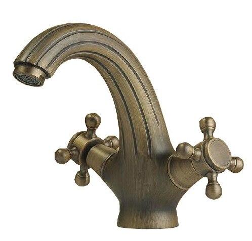 Classique double croix poignées en laiton salle de bains robinet navire évier bassin mélangeur robinets anf041