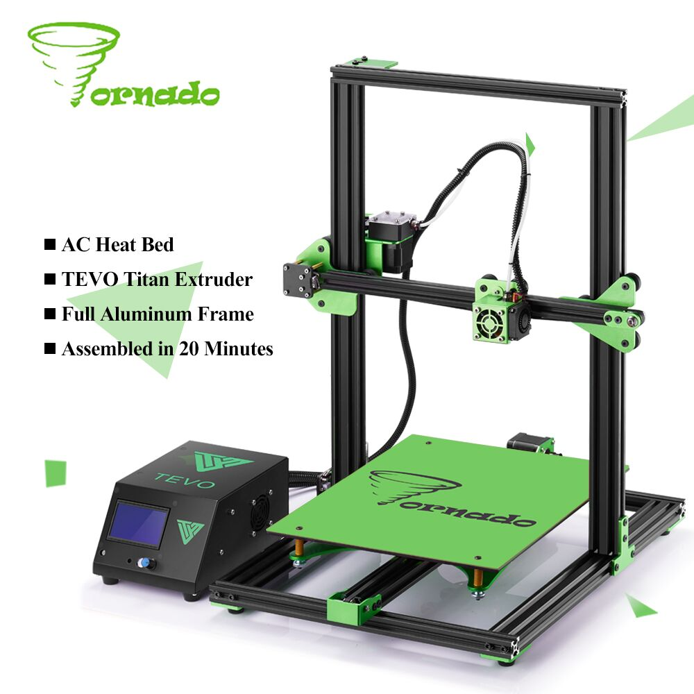 2017 TEVO Tornado Fully Assembled Aluminium Extrusion 3D Printer High Printing Quality impresora 3d printer With Extruder high quality 3d printer consumable items